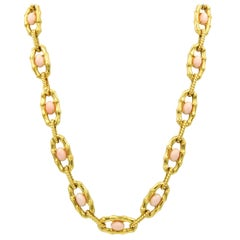Coral Necklace and Bracelet Bamboo Motif 18 Karat Yellow Gold French Made