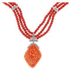 Coral Necklace with Floral Coral Removable Pendant Set with Diamonds