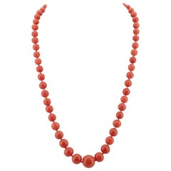 Coral Necklace with Jade Clasp, circa 1960s