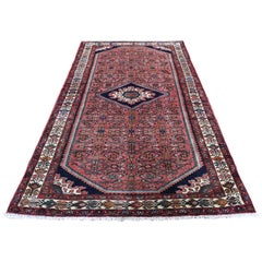 Coral Persian Hamadan Pure Wool Hand Knotted Oriental Rug