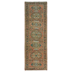 Coral Old and Worn Down Persian Heriz Hand Knotted Runner Oriental Rug