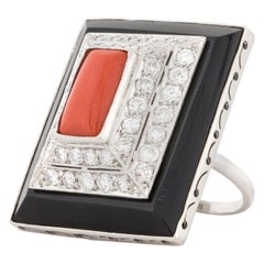 Coral Onyx and Diamond Ring in Platinum