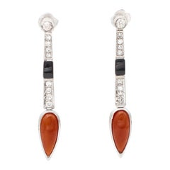 Coral, Onyx, Diamonds Platinum Drop Earrings