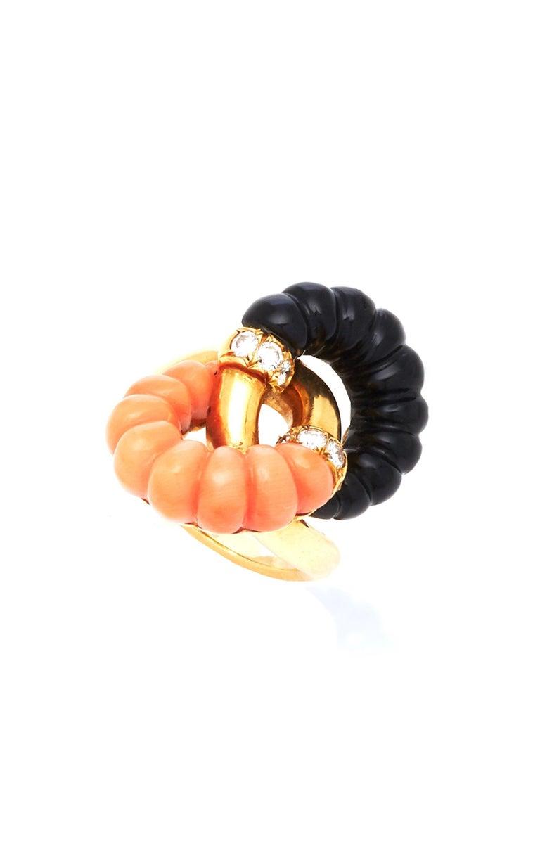 Retro Coral Onyx Diamonds Ring For Sale