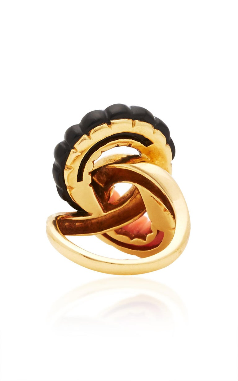 Women's Coral Onyx Diamonds Ring For Sale