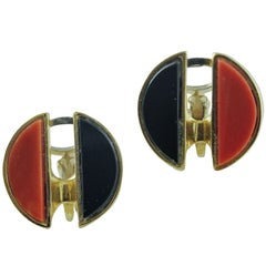 Half Onyx Button and Half Red Coral Buttons, Rose Gold Clip-on/Stud Earrings