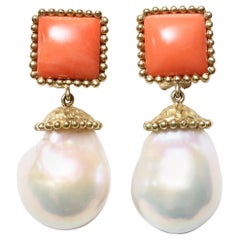 Coral Pearl Drop Gold Earrings