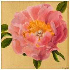 """""""Coral Peony"""" Oil and Gold Leaf Still Life Painting by Nicola Currie"""