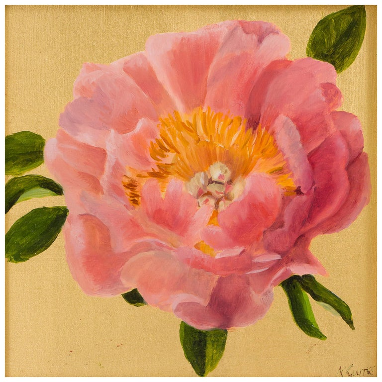 """""""Coral Peony"""" Oil and Gold Leaf Still Life Painting by Nicola Currie For Sale"""