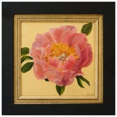 """Coral Peony"" Oil and Gold Leaf Still Life Painting by Nicola Currie"
