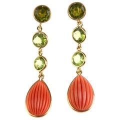 Coral Peridot 18 Karat Gold Earrings