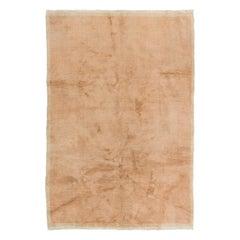 Coral Pink Color Plain Tulu Rug, Vintage Minimalist Floor Covering