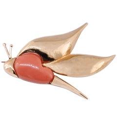 Orange Coral, Rose Gold, Dragonfly Shape Brooch/Pendant Necklace