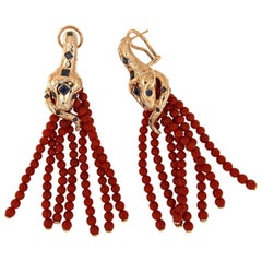Coral Pink Gold Tassle Earrings