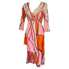 Coral Pink Ribbon twin print silk jersey mock wrap dress