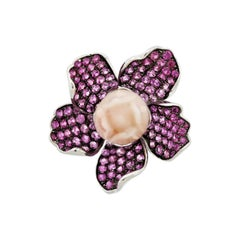 Coral Pink Sapphire Gold Flower Ring