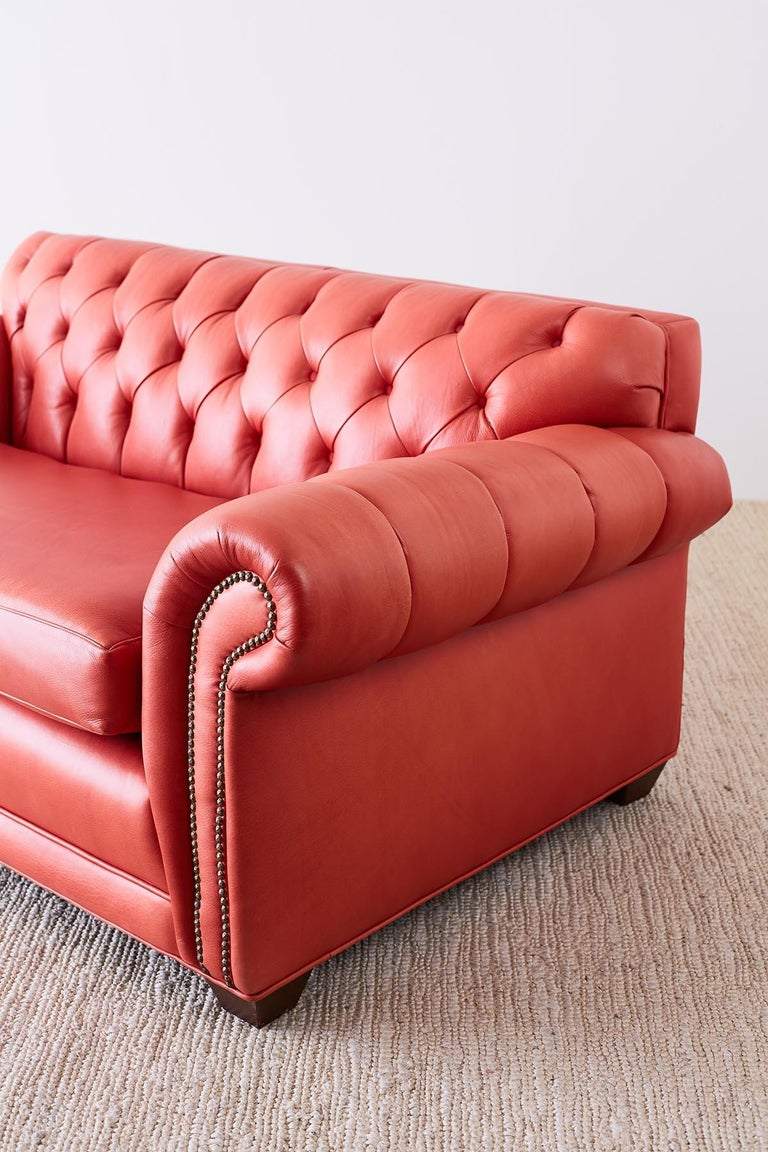 Coral Red Leather Tufted Chesterfield Sofa Settee For Sale 3