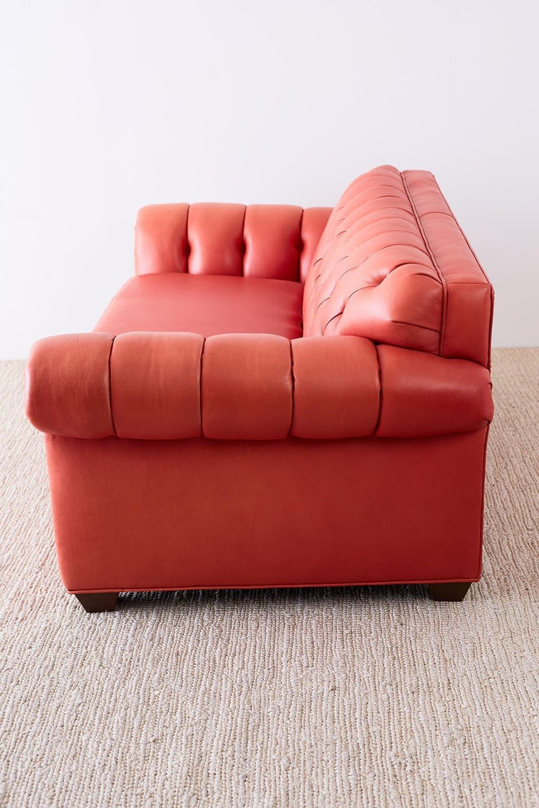 Coral Red Leather Tufted Chesterfield Sofa Settee For Sale 4