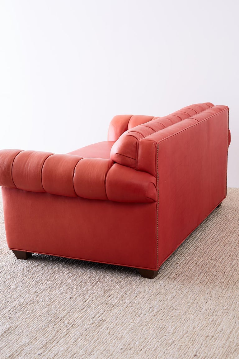 Coral Red Leather Tufted Chesterfield Sofa Settee For Sale 5
