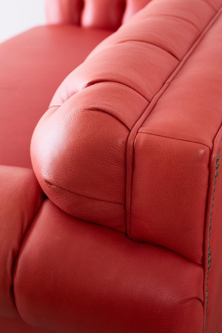 Coral Red Leather Tufted Chesterfield Sofa Settee For Sale 6