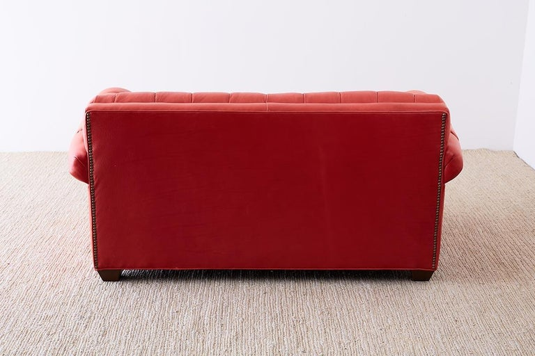 Coral Red Leather Tufted Chesterfield Sofa Settee For Sale 8