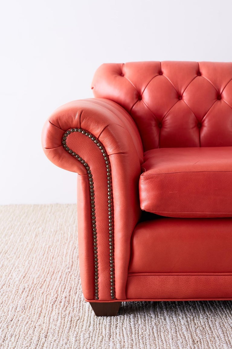 Coral Red Leather Tufted Chesterfield Sofa Settee For Sale