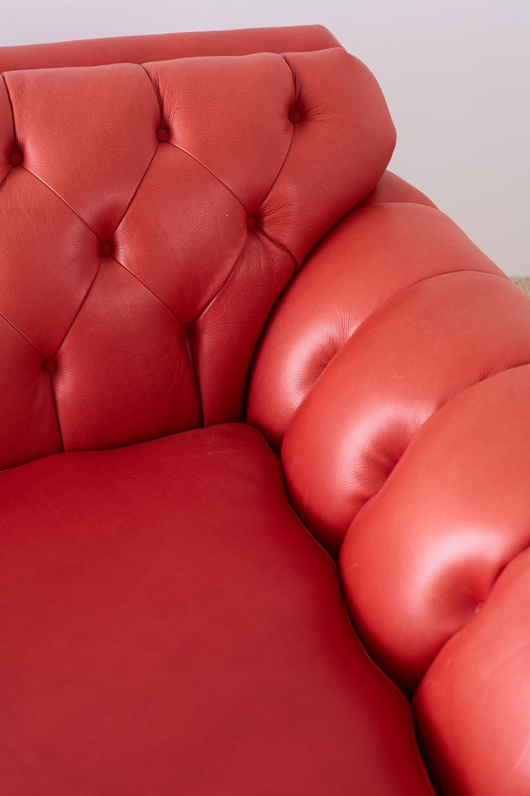 Brass Coral Red Leather Tufted Chesterfield Sofa Settee For Sale