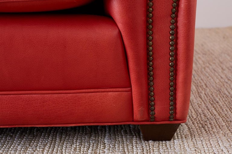 Coral Red Leather Tufted Chesterfield Sofa Settee For Sale 1