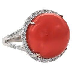 Coral Ring 15.62 Carat with Diamonds 0.41 Carat 18 Karat Gold