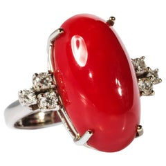 Coral Ring with Diamonds Midcentury