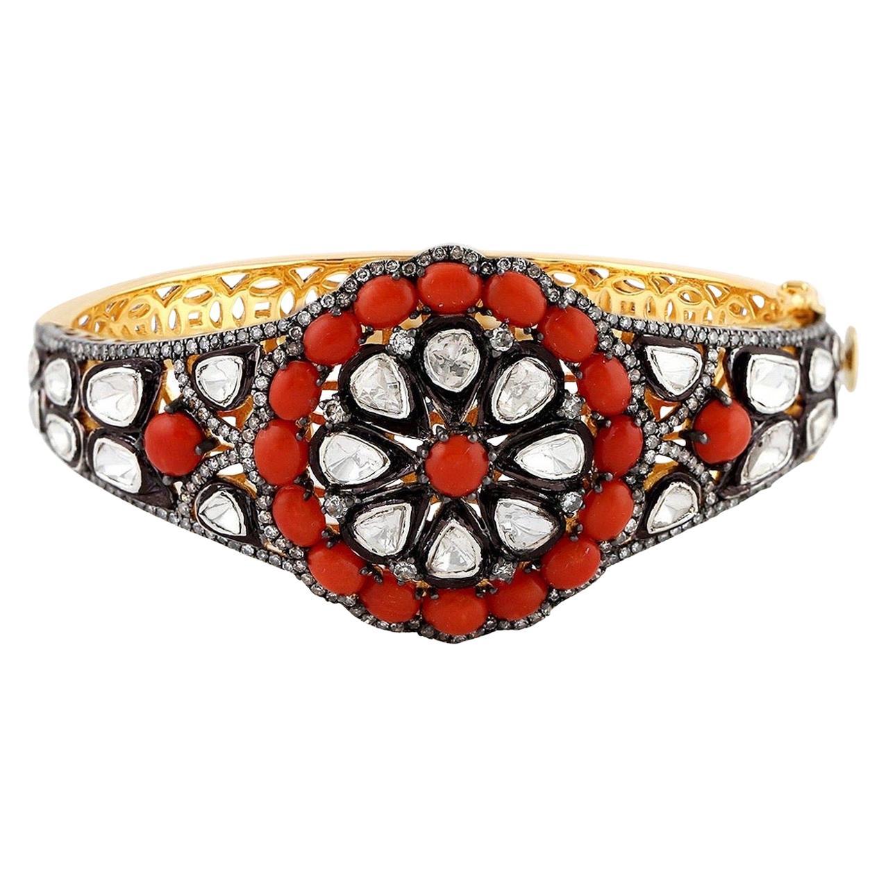 Coral Rose Cut Diamond Bracelet Cuff