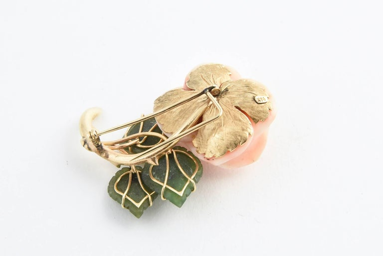 Rose Cut Coral Rose Flower Gold Brooch with Jade Leaves For Sale