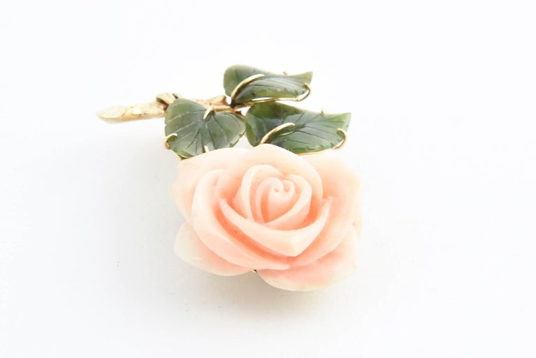 Coral Rose Flower Gold Brooch with Jade Leaves For Sale 1