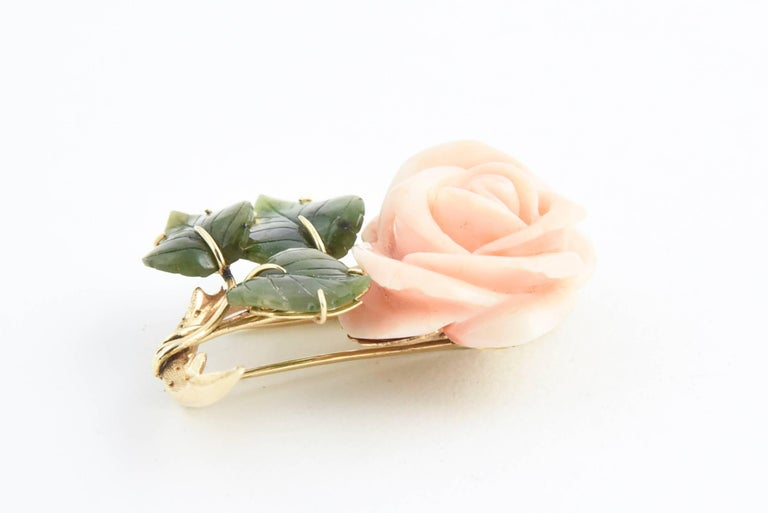 Coral Rose Flower Gold Brooch with Jade Leaves For Sale 2