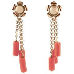 Coral, Rose Gold Pendant Retro Flower Shape Earrings