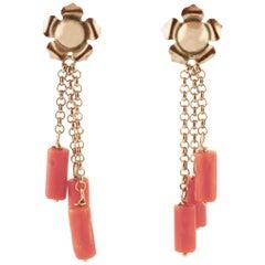 Coral, Rose Gold Pendant Retro Flower Shape Earrings
