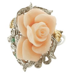Coral Rose, Sapphires, Emeralds, Diamonds, 14 Karat White Gold Retro Ring