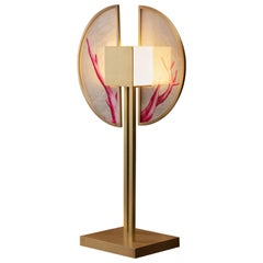 Coral Royal Contemporary Table Light in Brass and Silk by Ori Home