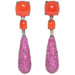 Coral, Ruby and White Diamond on Black Gold 18 Karat Chandelier Earrings
