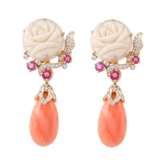 Coral Ruby Diamond 18 Karat Yellow Gold Detachable Earrings
