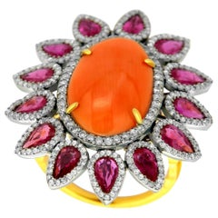 Coral Ruby Diamond Ring