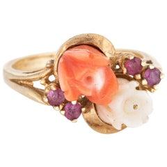 Coral Ruby Flower Ring Vintage 14 Karat Yellow Gold Estate Fine Jewelry