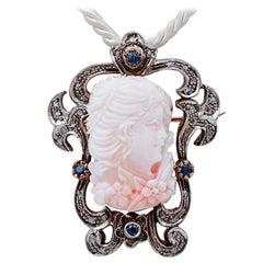 Coral, Sapphires, Diamonds, 14Karat Rose Gold and Silver Brooch/Pendant Necklace