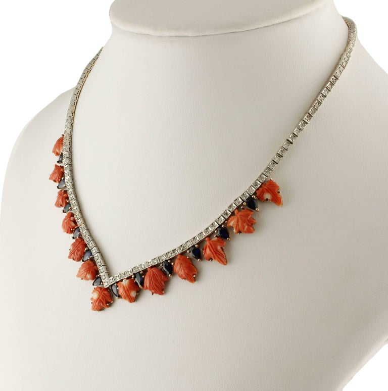 Retro Coral Sapphires Diamonds Rose Gold and Silver Necklace For Sale