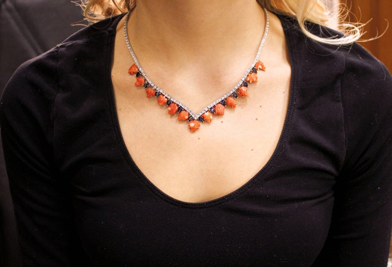 Women's Coral Sapphires Diamonds Rose Gold and Silver Necklace For Sale