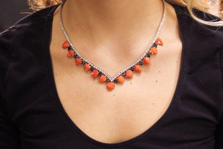 Coral Sapphires Diamonds Rose Gold and Silver Necklace For Sale 1