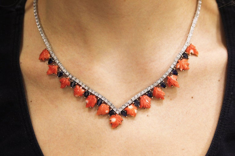 Coral Sapphires Diamonds Rose Gold and Silver Necklace For Sale 2