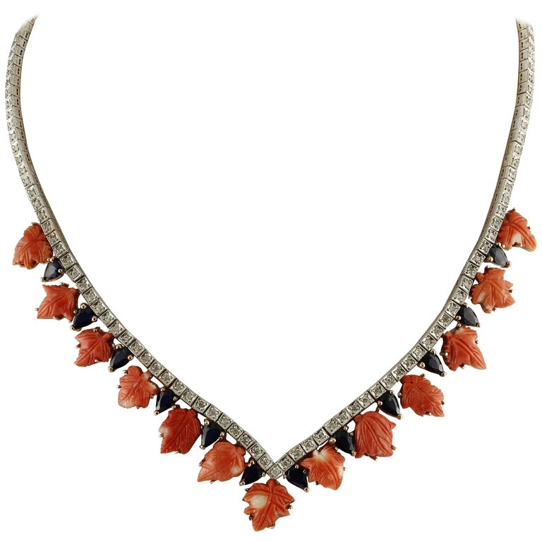 Coral Sapphires Diamonds Rose Gold and Silver Necklace For Sale