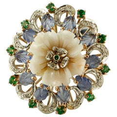 Coral, Sapphires, Emeralds, Diamonds, 14 Karat White and Rose Gold Vintage Ring