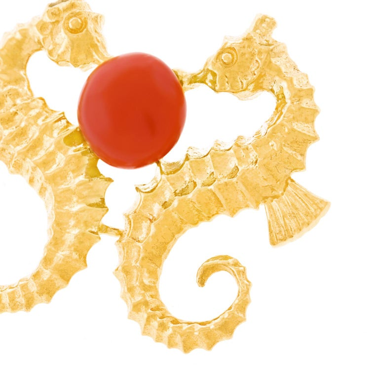 Coral Set Seahorse Brooch For Sale 3